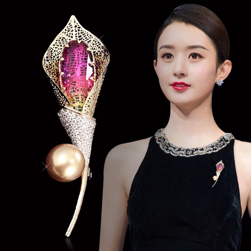 Temperament button cardigan pin tulip brooch brooch high-end gem evening dress hollowed out custom shawl Pearl