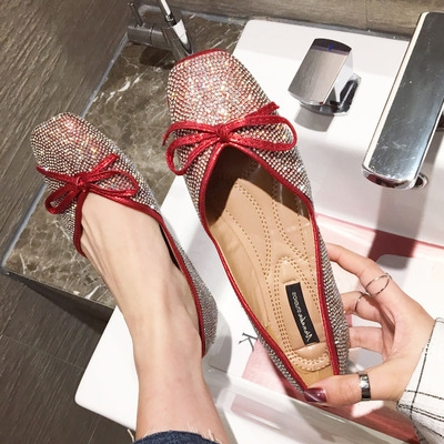 2020 ballet shoes flat sole single shoes womens flat heel shallow mouth Bling Rhinestone bow soft bottom square shoes