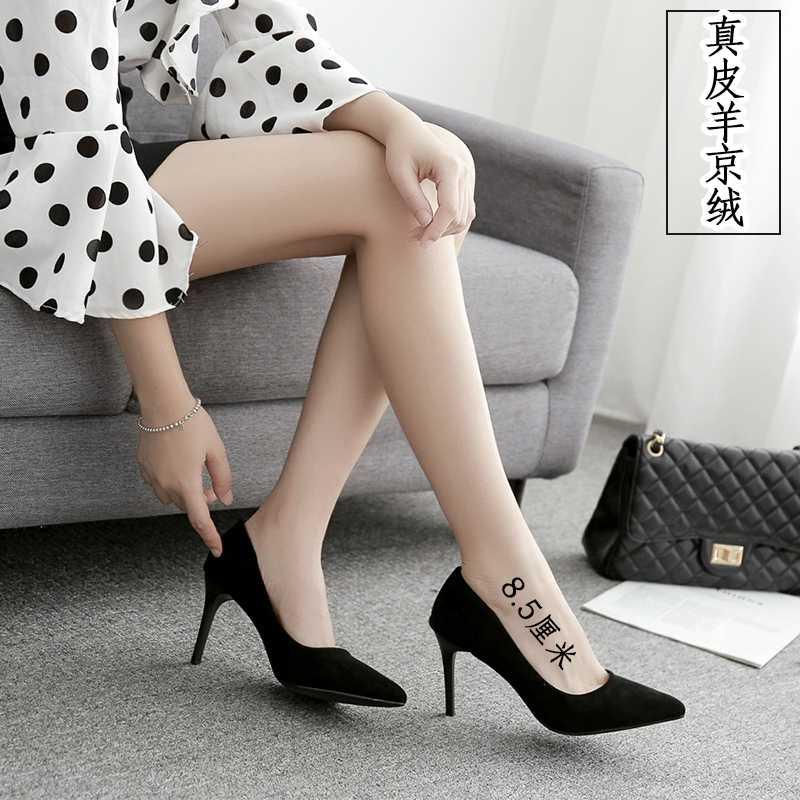High heels womens thin heels new black pointy suede professional ol interview formal work shoes in spring and autumn 2019