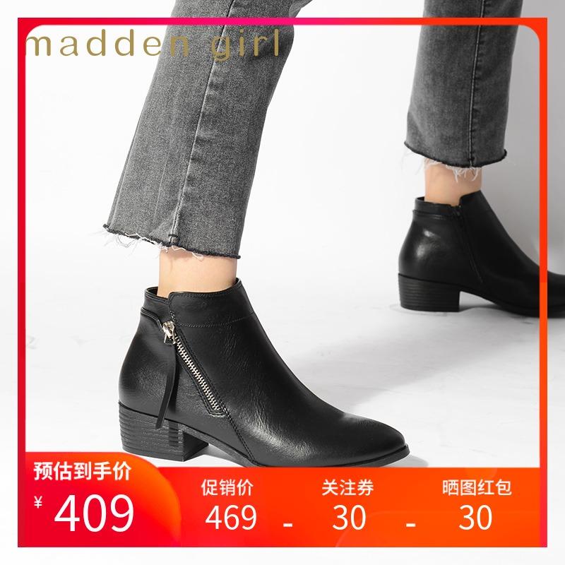 Madden girl 2020 autumn new side zipper thick heel short boots womens fashion classic womens boots Deena