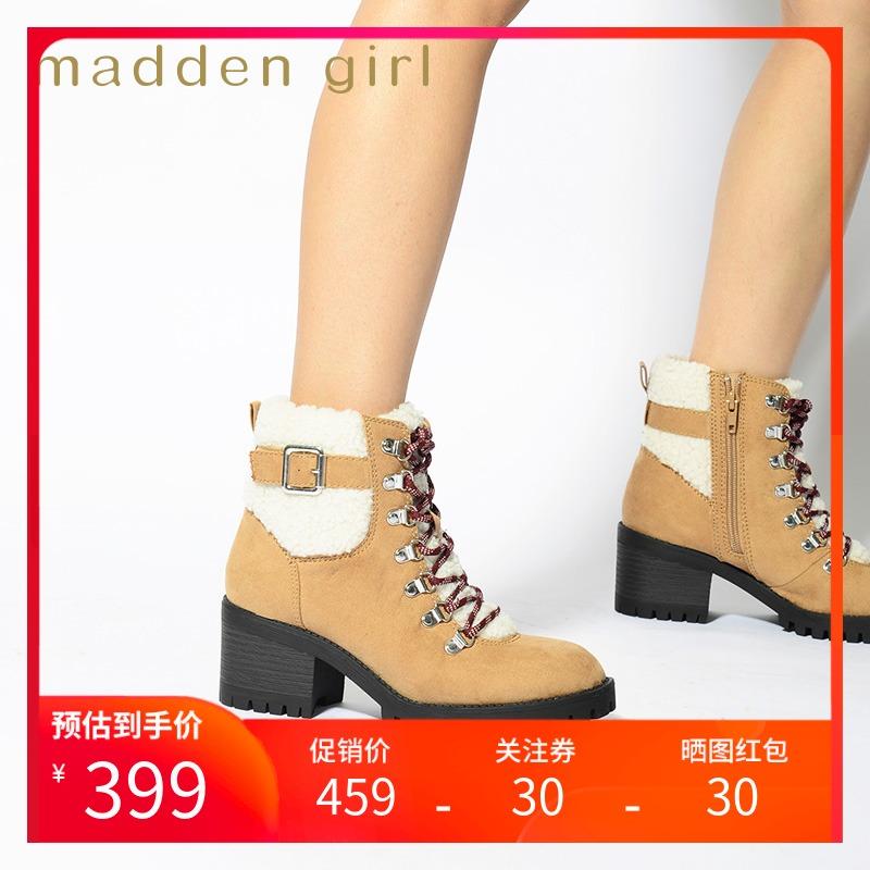 Madden girl shoes childrens 2020 new Martin boots womens winter Plush high heels womens hayess