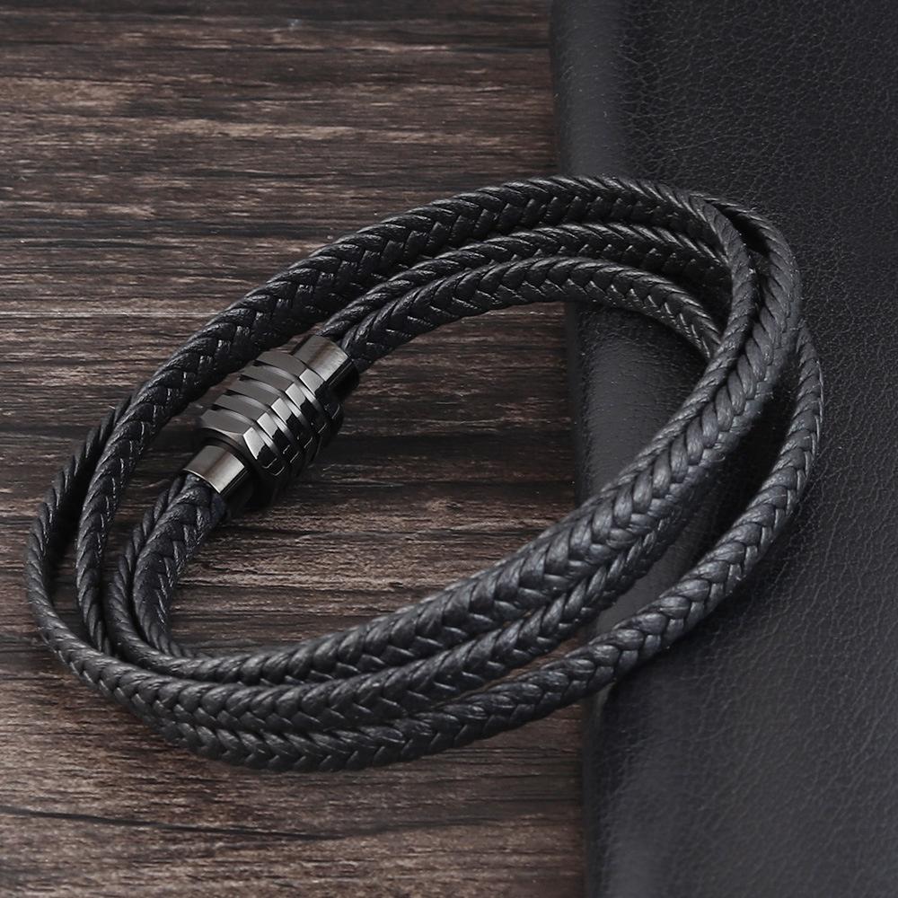 Titanium steel magnetic buckle leather braided multi ring bracelet boys Bracelet punk rock style mens bracelet trendy mens Leather Bracelet