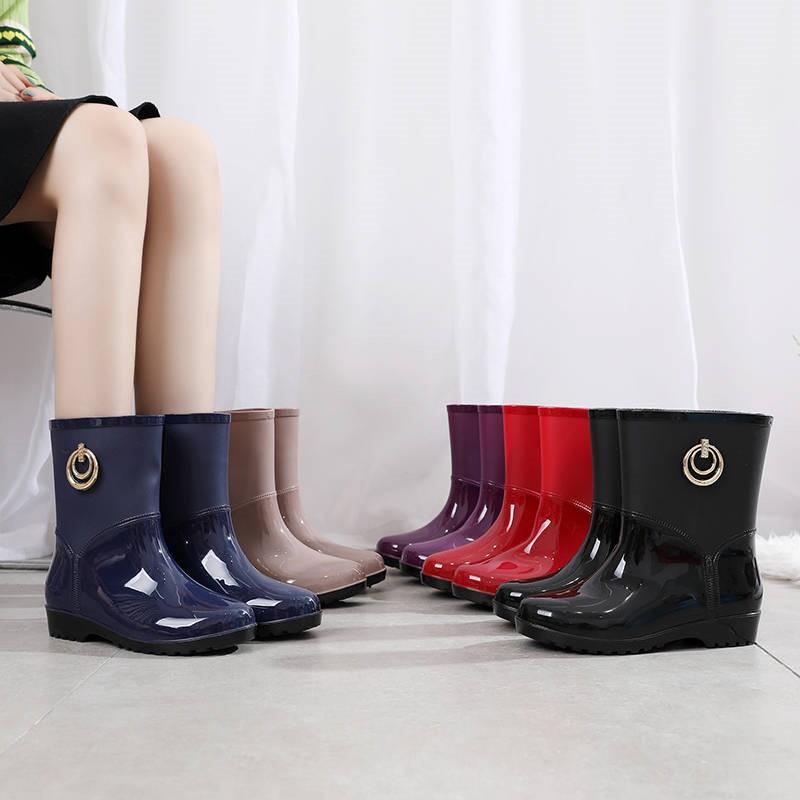 雨鞋女防水成人时尚外穿雨靴防滑水鞋胶鞋加绒保暖短中筒女士套鞋
