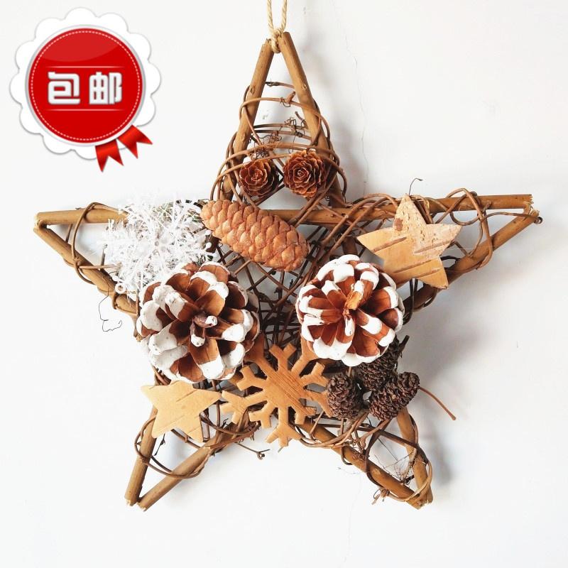 挂五角星套餐diy挂花圈花环树圈件装饰圣诞节铃圣诞节装饰品门藤