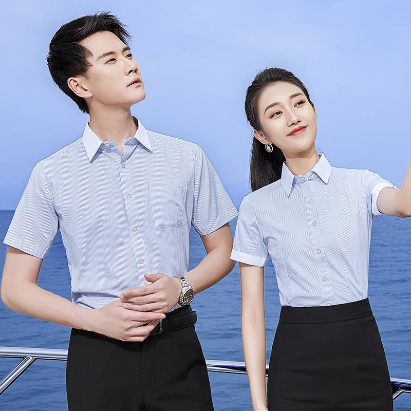2021新款春季条纹衬衫女长袖工作服正装韩版职业女装短袖衬衣OL寸