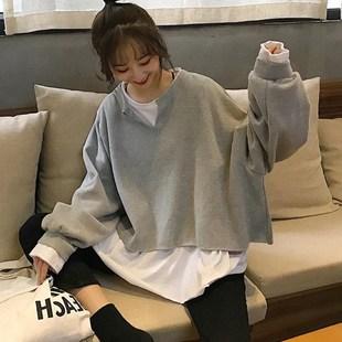 秋季新款韓版ins薄款寬鬆假兩件長袖衞衣女潮學生冬加絨外套上衣
