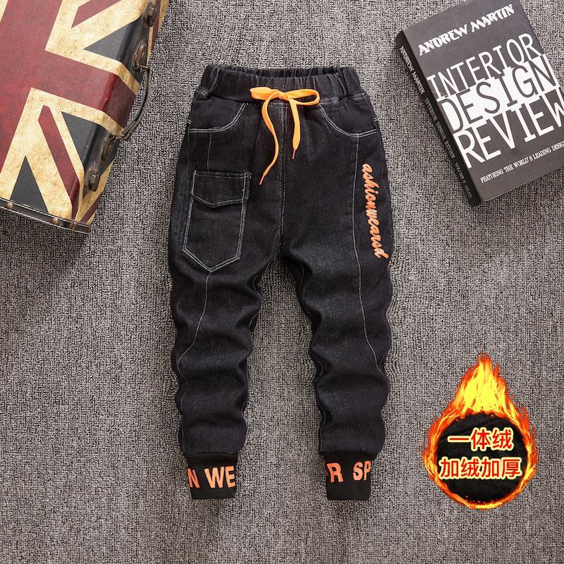 Mens jeans in one baby boy black coat fashion denim pants children