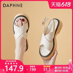 达芙妮2021年夏季新款厚底软底鱼嘴凉鞋女平底百搭外穿今年女鞋子