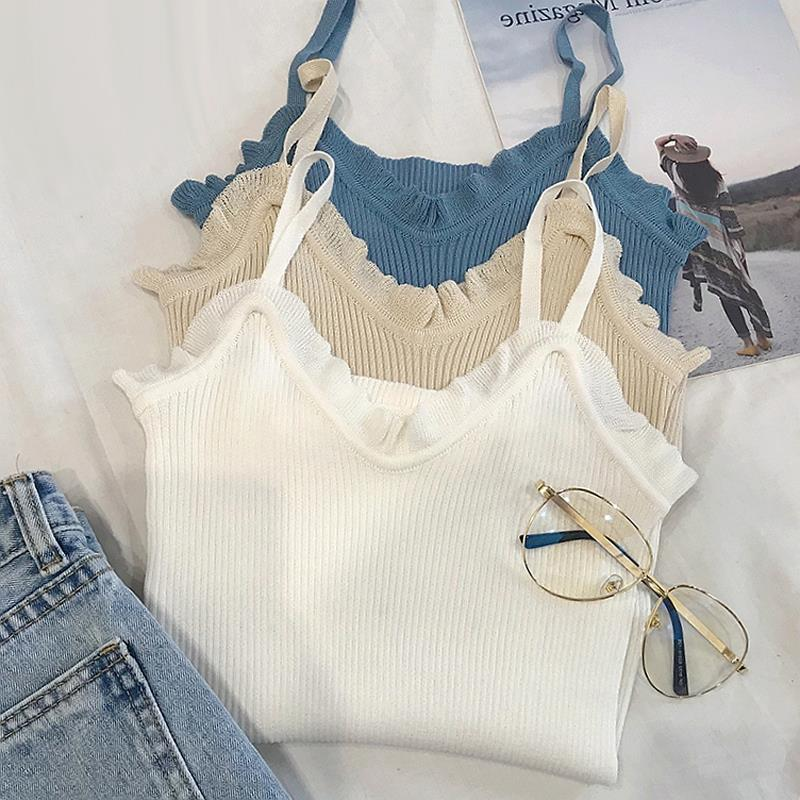 Womens knitted suspender waistcoat in summer elegant style, with fashionable bottomless bottoms and red face after watching the net red top