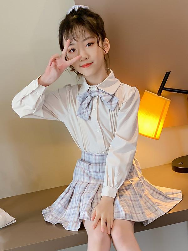 网红小女孩春秋制服套装2020新款中大童韩版日系学院风JK衬衫套裙
