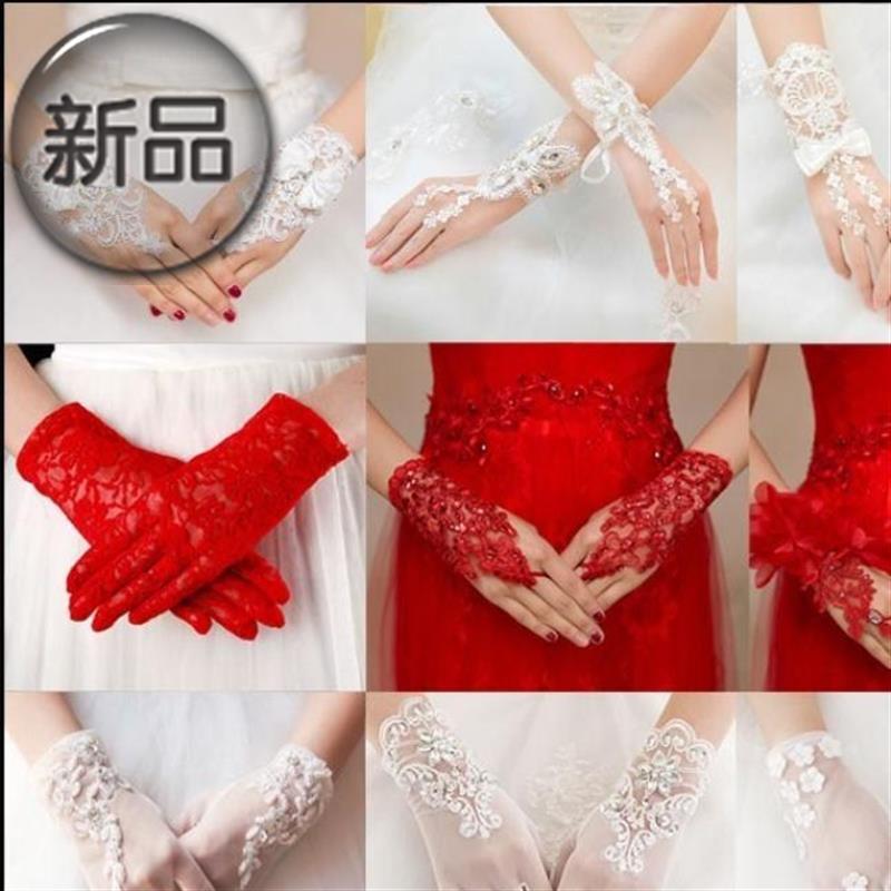 结婚舞会晚会婚礼手套手套宴会白色黑色红色长款缎面婚纱礼服晚a