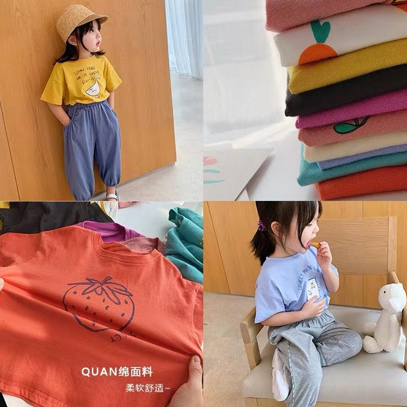 纯棉网红男女童短袖t恤2021夏装新款韩版童装中小童儿童半袖上衣