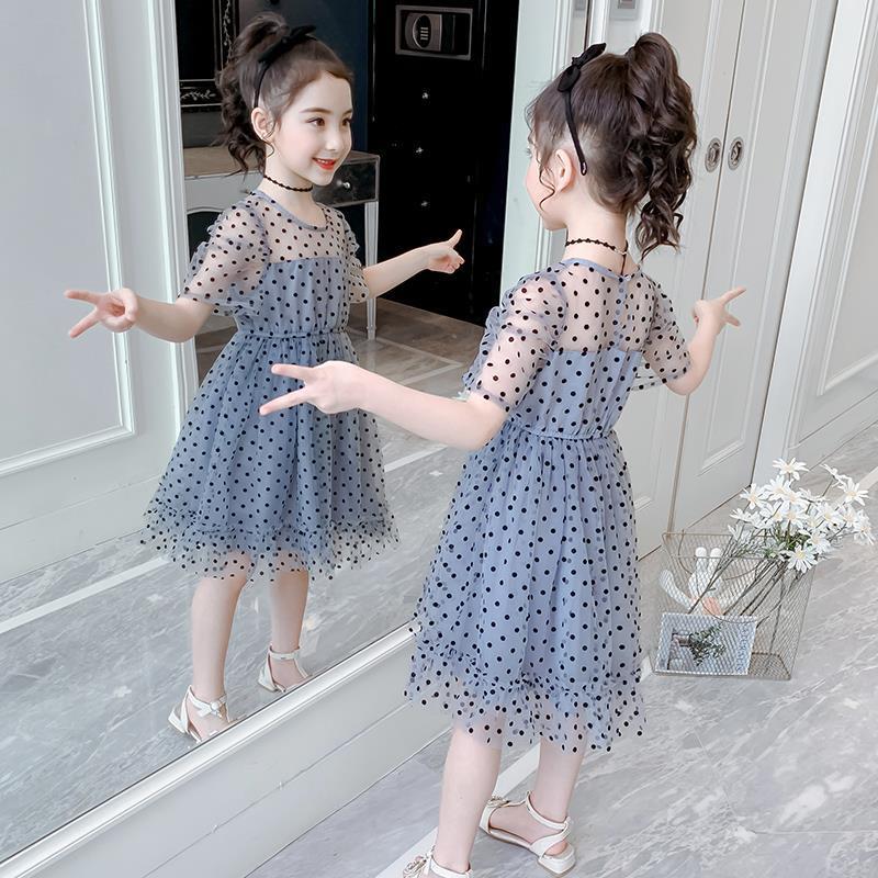 女童连衣裙夏装2021新款儿童韩版波点洋气公主裙夏季女孩网纱裙子