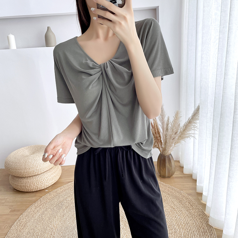 Summer thin V-neck short sleeve t-shirt female 2021 new versatile slim top modal Solid Gold Classic