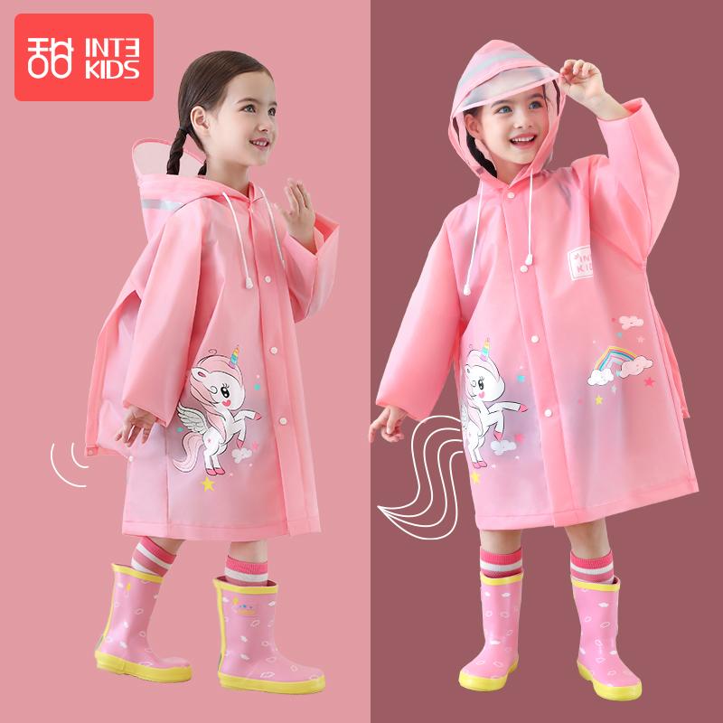 儿童雨衣女童幼儿园小学生透明雨披带书包宝宝上学加厚独角兽雨衣