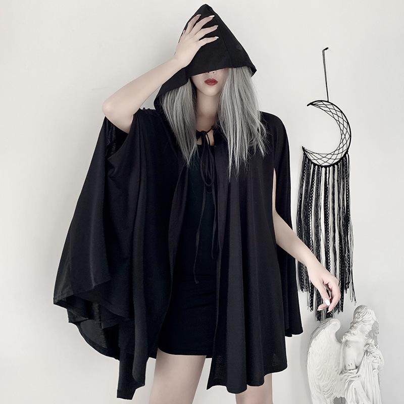 欧美暗黑哥特大祭司披风吸血鬼外套 洛丽塔无袖连帽风衣斗篷