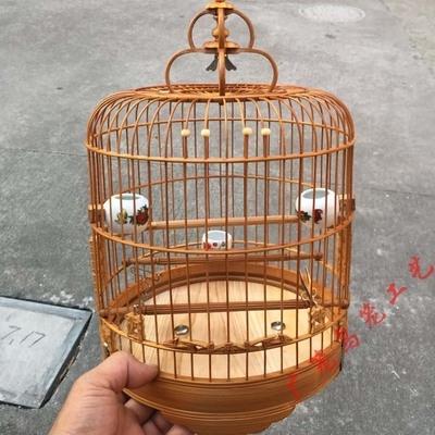 高档清远广式雕花竹节小笼子芙蓉金青鸟笼竹笼竹笼绣眼笼配件广笼