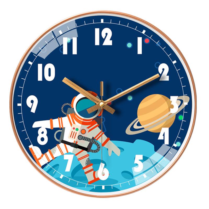 儿童挂钟时钟可爱卡通创意家用表挂墙北欧简约钟表卧室超静音客厅