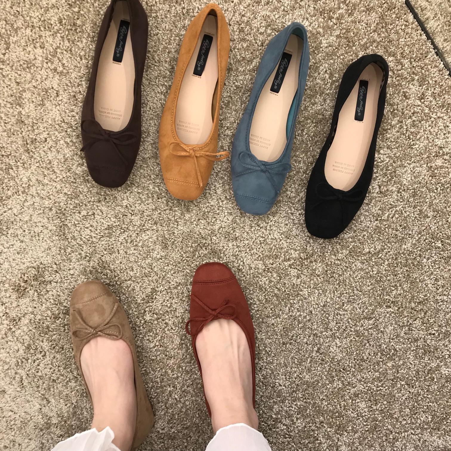 Doudou shoes womens 2020 new gentle square head shallow BOW FLAT SHOES BALLET comfortable versatile single shoes