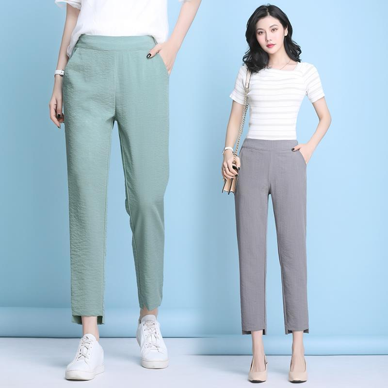 Cotton hemp pants womens summer 2020 new Korean loose nine point casual pants show thin and versatile Harem Pants womens thin
