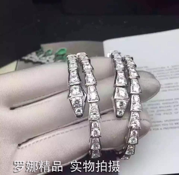 高档蛇形钻石女手镯蛇型S925纯银满钻开口手环弹力男女情侣饰品对