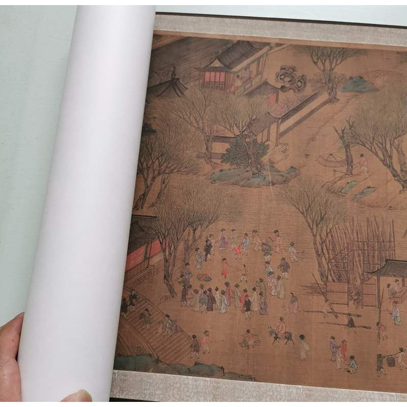 Qing Dynasty anonymous imitation Qiu Ying Qingming shanghetu metropolis collection calligraphy and painting figure scroll micro spray replica decorative painting