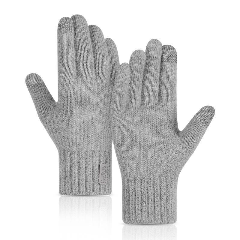 秋冬季针织触屏手套男女士户外骑行加绒加厚防风保暖羊驼绒手套