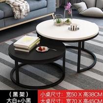 北歐茶幾現代簡約鐵藝玻璃圓形小戶型簡易小茶幾家用客廳創意