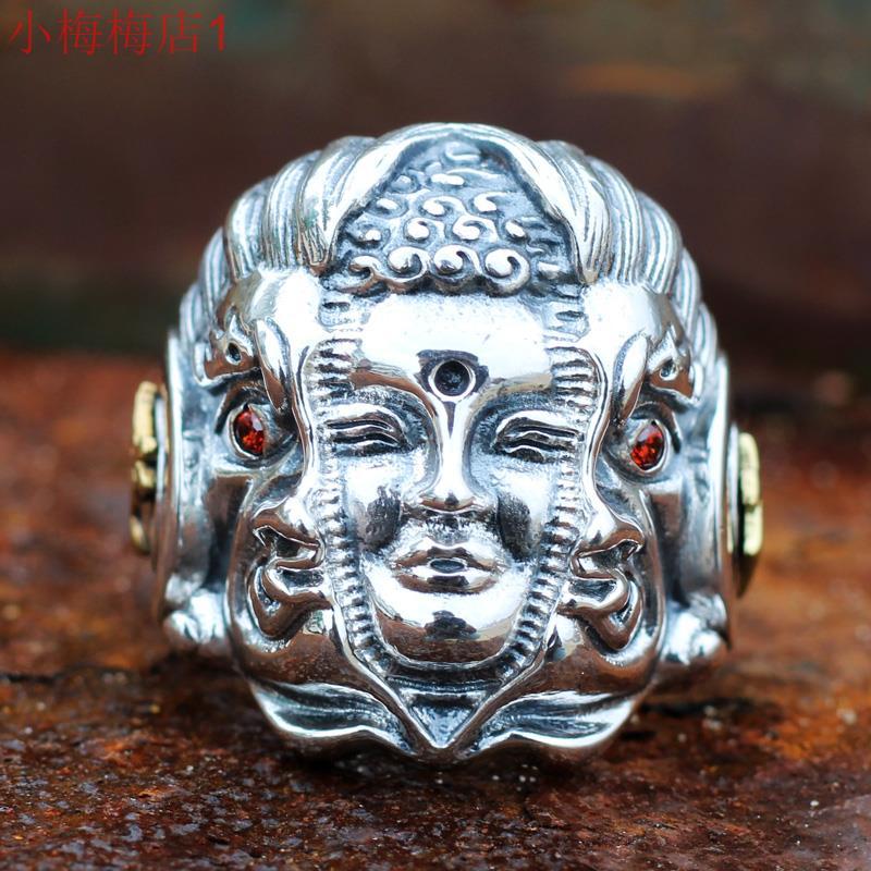 纯银佛魔一念之间戒指男款霸气佛破魔而出民族风格泰银仿古指环
