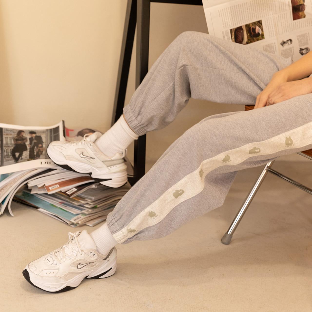 尔给灰色运动裤女夏季薄款宽松束脚卫裤新款休闲裤女小个子裤子