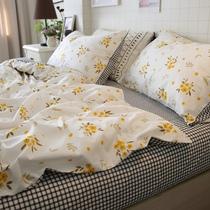 北欧风全棉三件套小清新小碎花格子床单被套纯棉简约床上四件套女