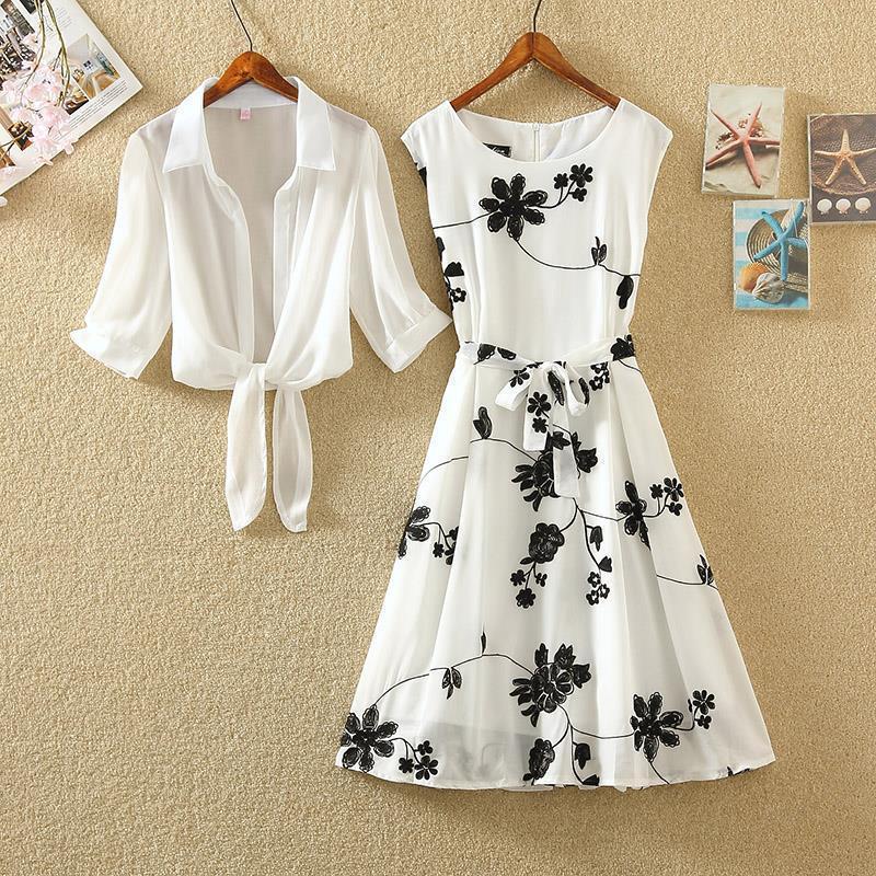 单件/套装2021夏新复古印花小黑裙高腰无袖显瘦A字裙两件套连衣裙