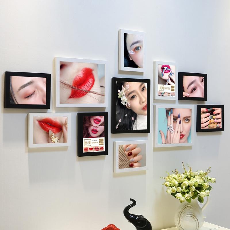 美甲纹绣照片墙眉毛美睫装饰画广告免打孔相框组合美容院墙上装。
