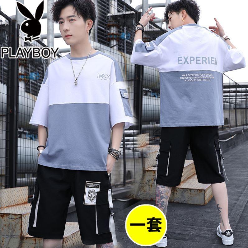 2020新款夏季短袖t恤男青少年休闲套装男装搭配一套帅气衣服潮流