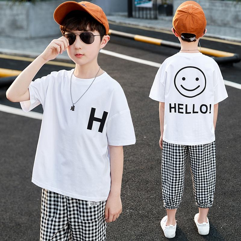 夏季上新款中大男孩休闲运动宽松T恤套装潮流时尚帅