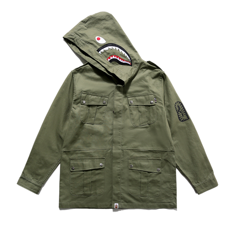 潘玮柏同款潮牌鲨鱼头工装连帽夹克猿人头0bape0ape风衣长款外套