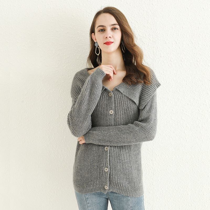 European and American Mohair Jacket Women cardigan sweater wool blended pure sweater womens autumn / winter 2020 sweater womens coat