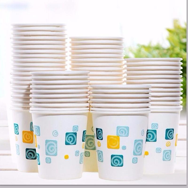 纸杯一次性100只装家用办公聚餐加厚纸杯饮水杯纸杯子防烫