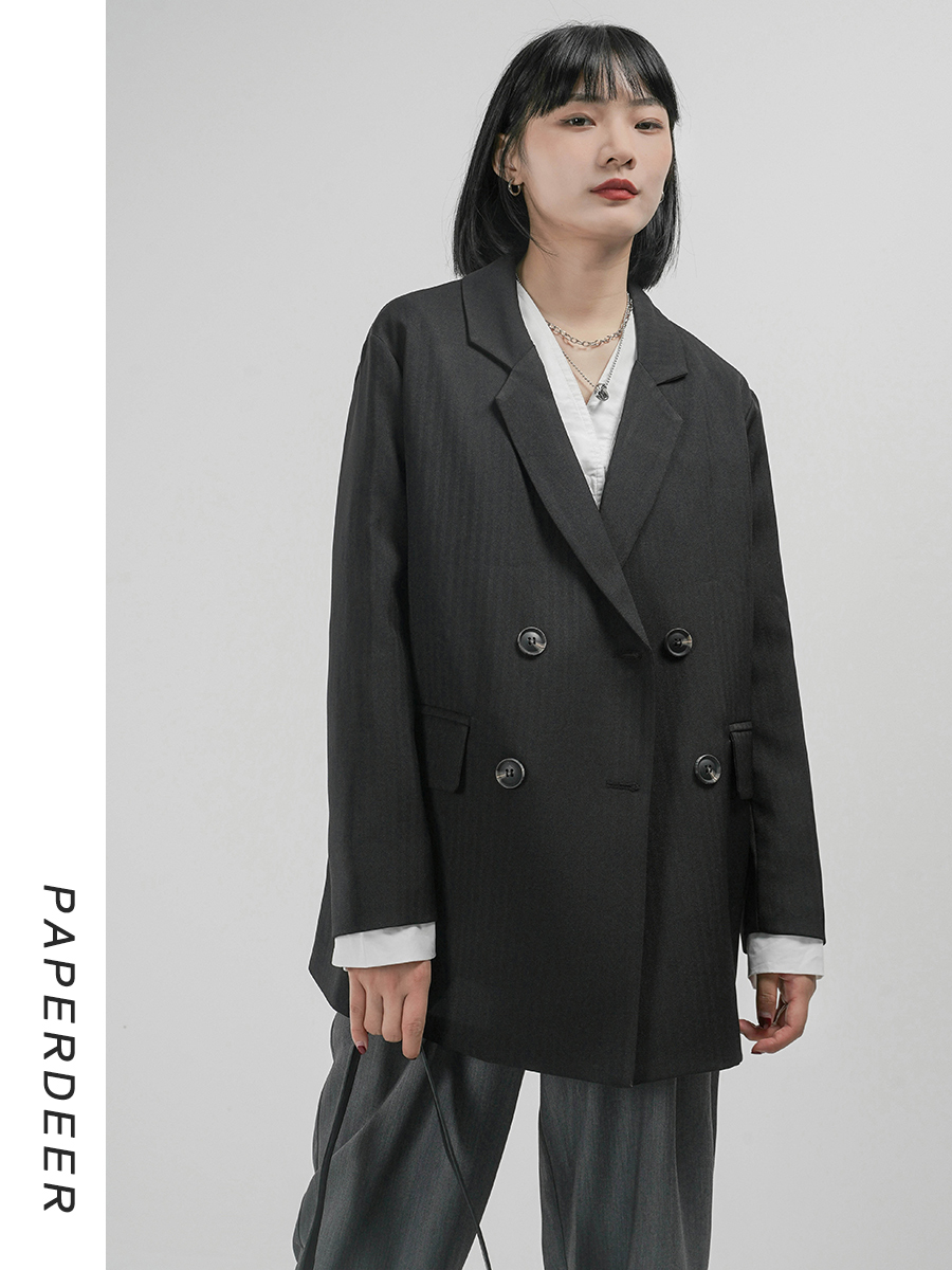 Paperdeer2020 autumn new double breasted suit, loose and casual, slim and sagging