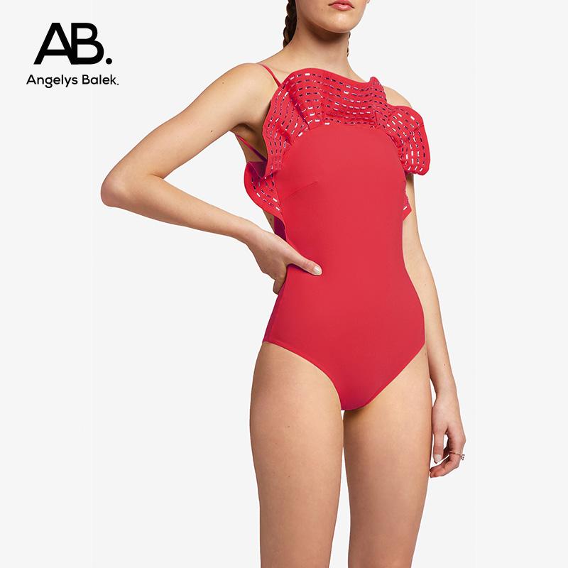 Angelys balek one-piece swimsuit Thai designer ab. light luxury Ruffle swimsuit womens summer new style
