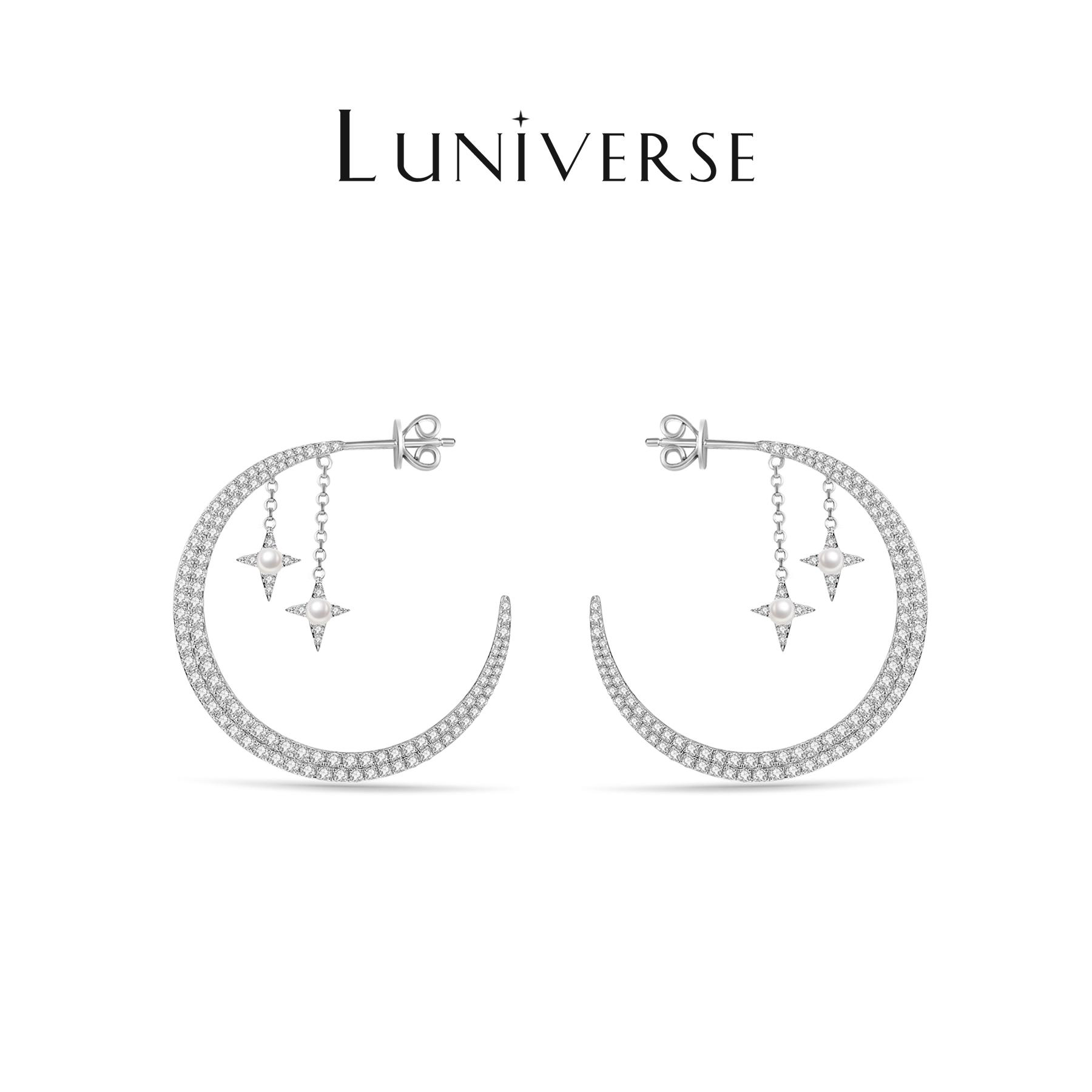 Luniverse 新月之夜 珍珠镶锆石纯银镀18k白金环状耳环