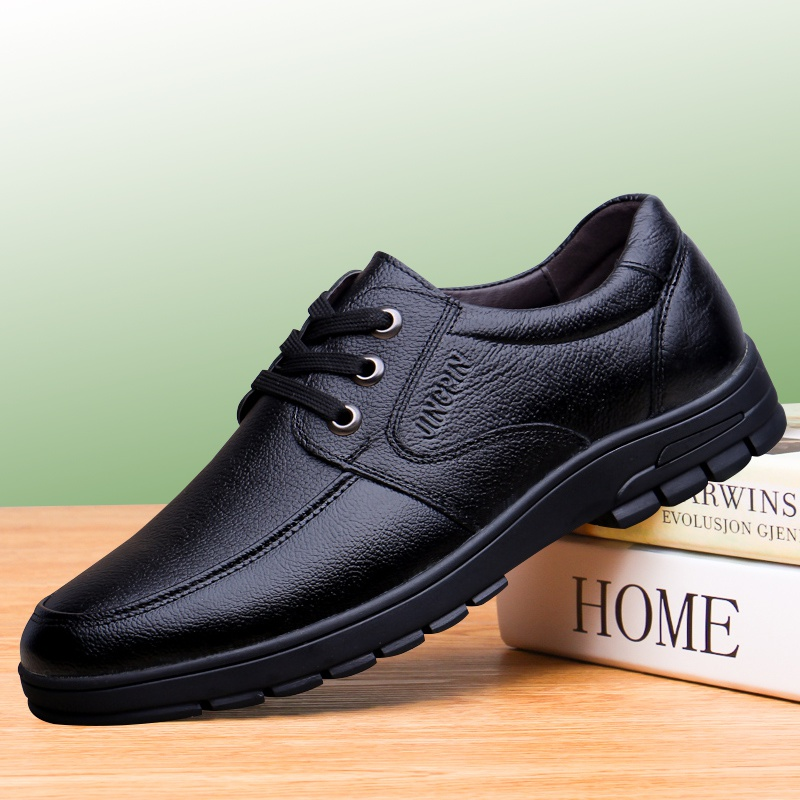 。H层底正装男式男皮鞋商务休闲鞋秋季男中年软真皮爸爸男士鞋牛
