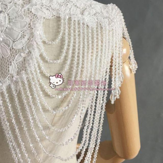 Wedding accessories new bride wedding Chinese stand collar shawl wedding dress tassel crystal shoulder chain bra wedding dress shoulder accessories