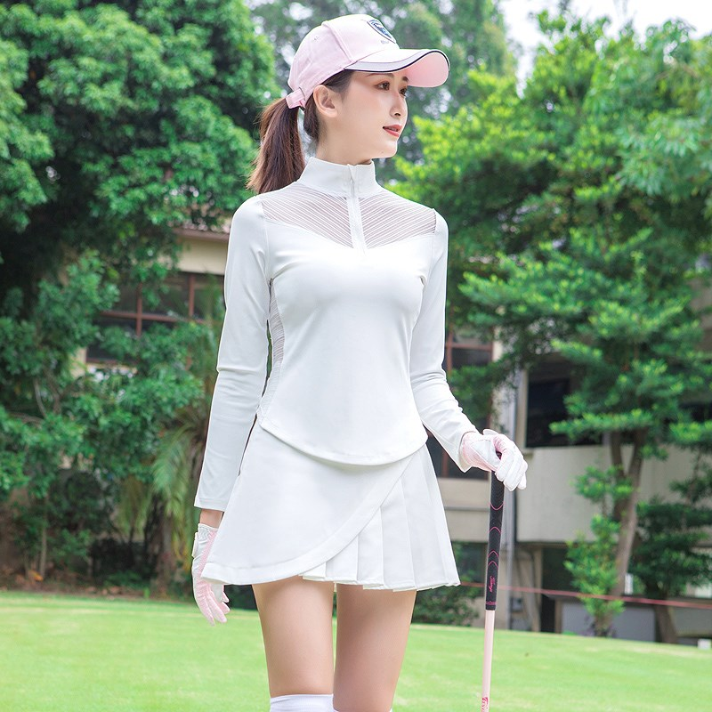 Golf clothes sexy quick drying long sleeve T-shirt sunscreen high collar zipper womens clothing elastic sportswear lace