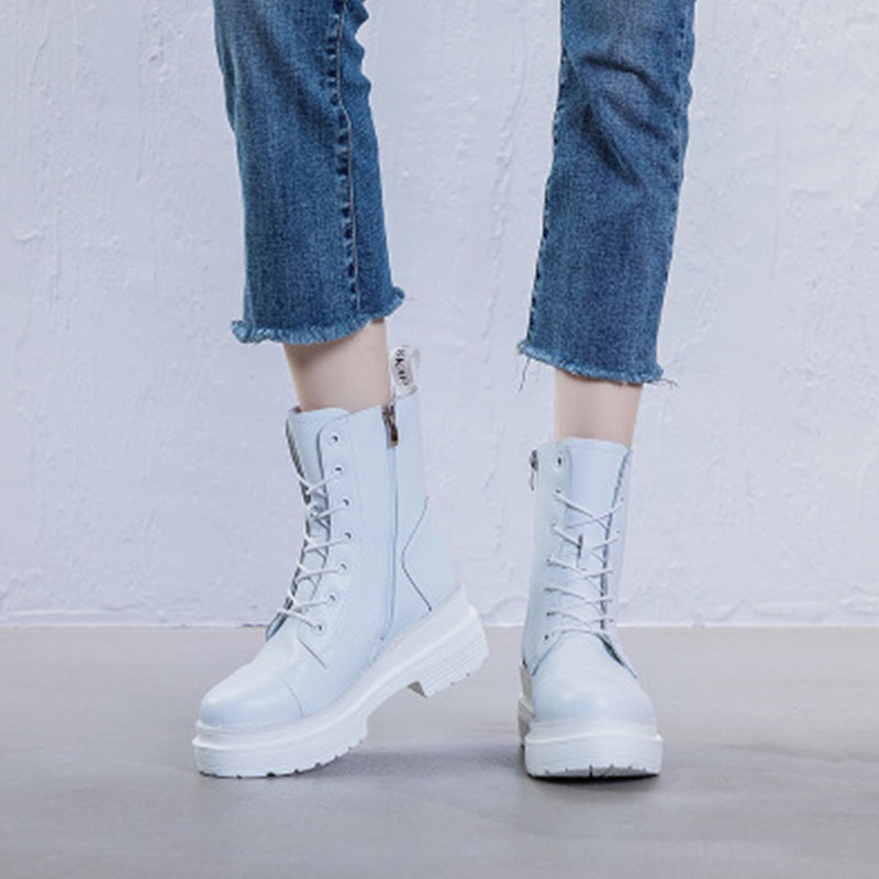 Autumn / winter 2020 new Martin boots women British style leather skinny slope heel versatile fashion motorcycle womens shoes short boot trend