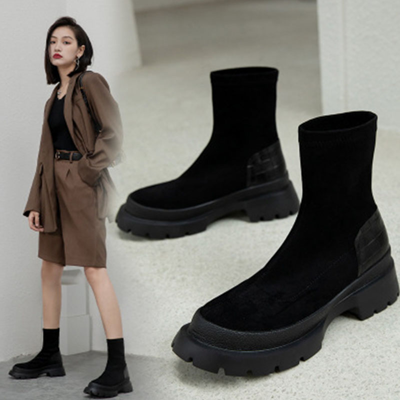 Suede thick sole fall / winter 2020 Martin boots women British black anti slip wear resistant short boots