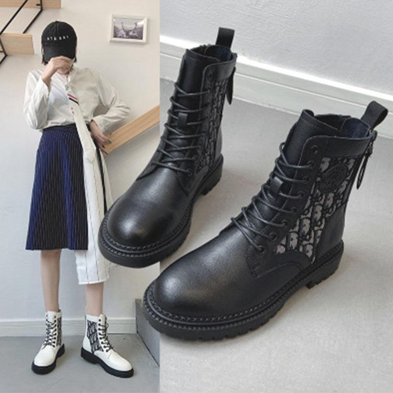 2020新款女拼接韩版真皮花纹马丁靴女平跟百搭骑士靴白色短靴女潮