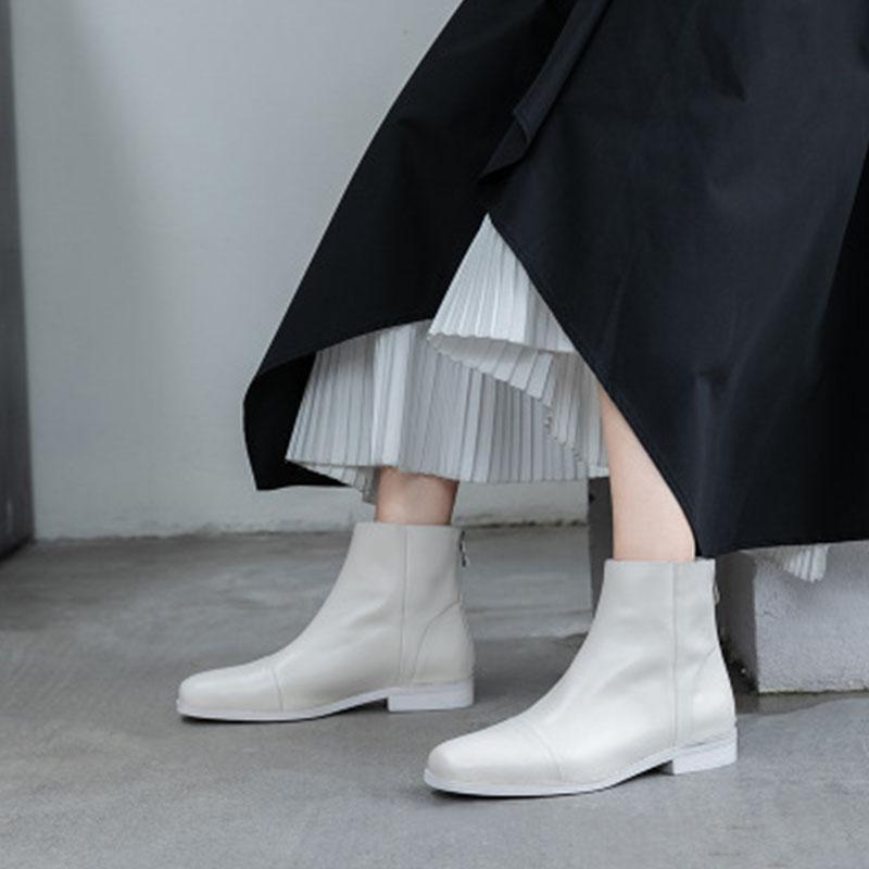 港风ulzzang百搭真皮女鞋2020新款马丁靴女平跟后拉链显瘦短靴女
