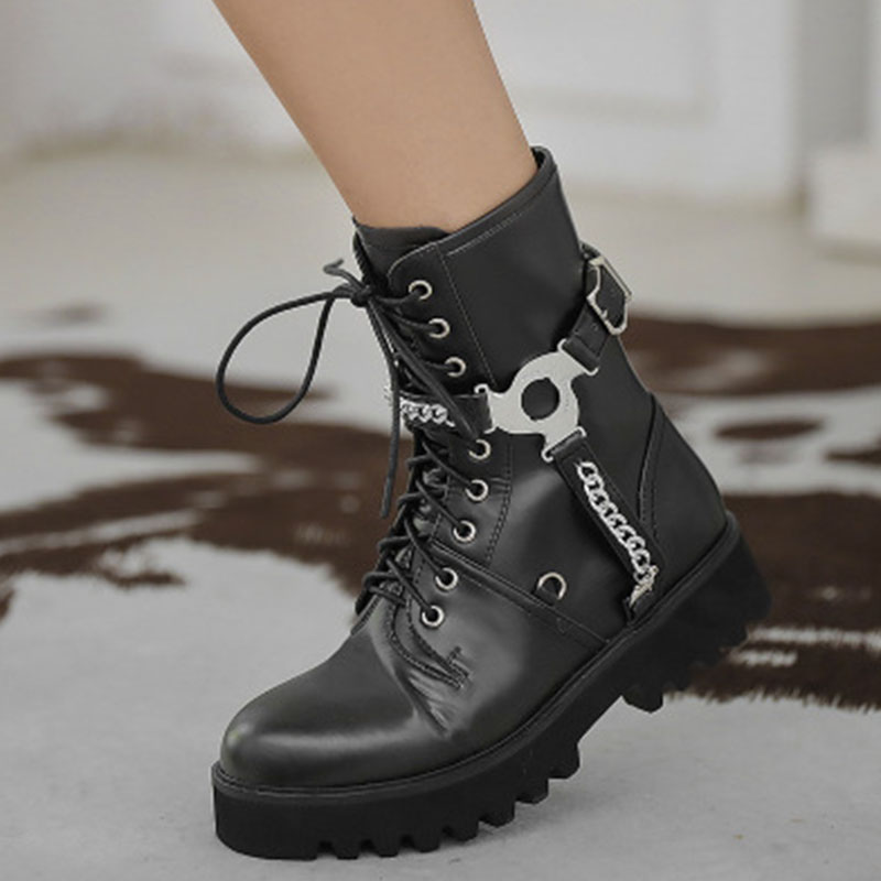 European and American belt buckle Mid Heel Martin boots 2020 new round head lace up side zipper leather thick bottomed womens Boots