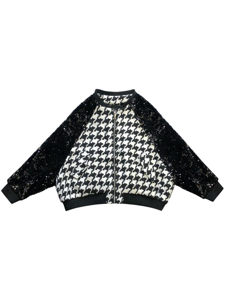 Plaid stitching Black Sequin Jacket Womens top short baseball collar zipper fashion spring womens coat trend